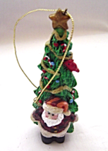 Santa with Tall Christmas Tree Ornament  - $9.99