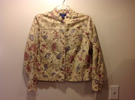 Great Condition Charter Club Petite Large Tan Pink Periwinkle Brown Jacket