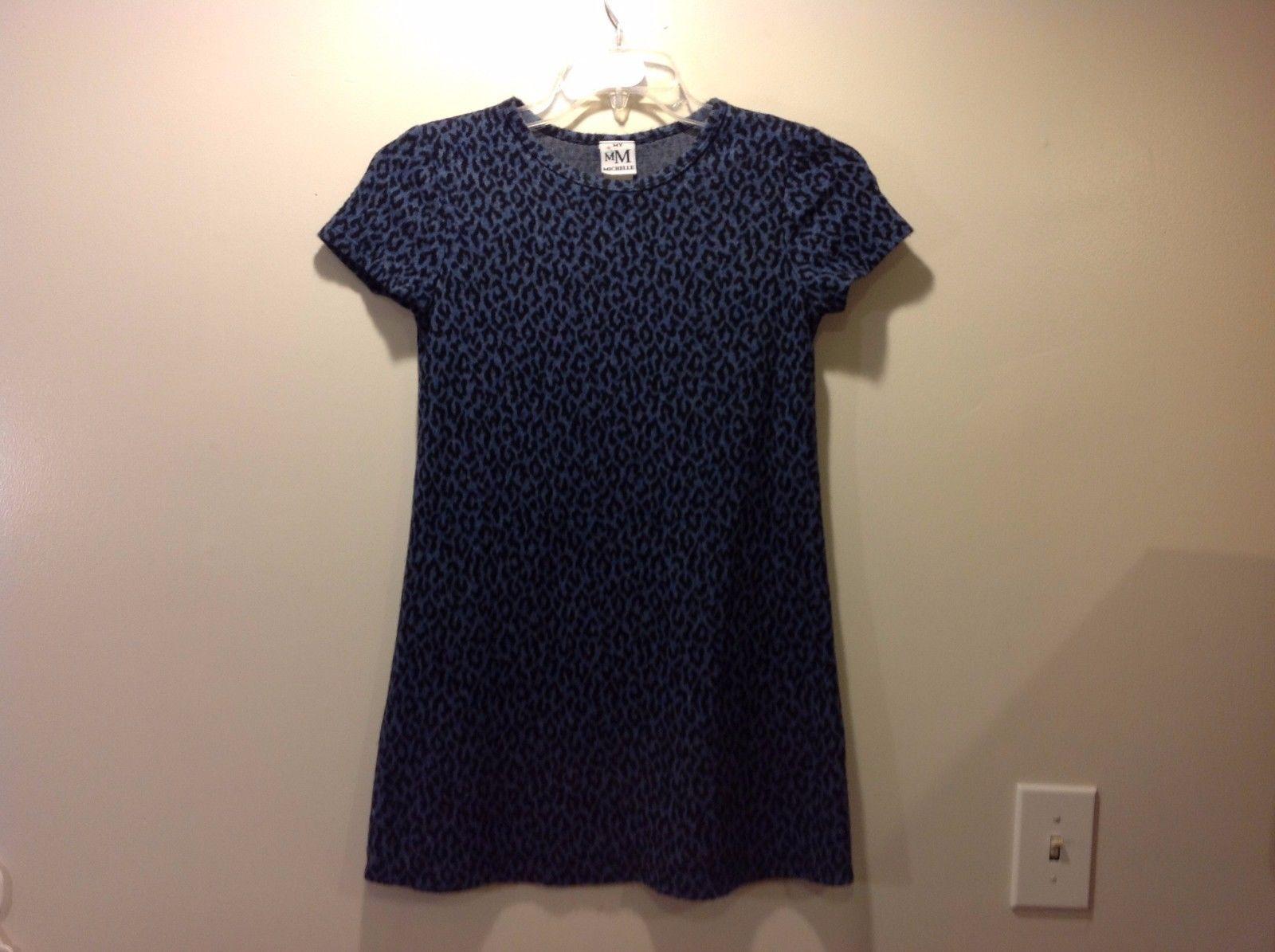 Great Condition Soft Blue Gray Black Leopard Print 16 Dress Blouse My Michelle