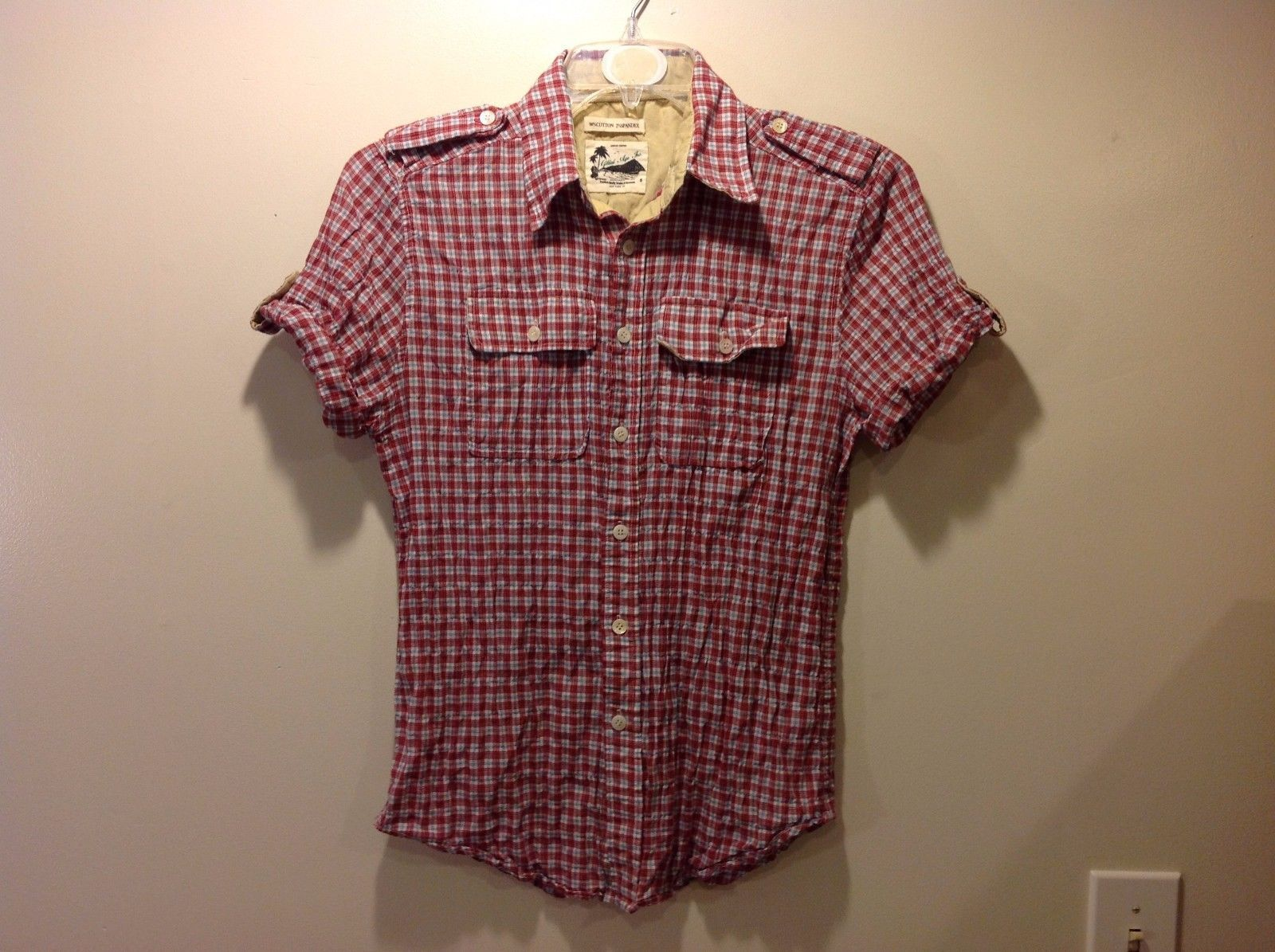 Great Condition Size Small Short-Sleeved Plaid Button Up Red Blue White Shirt