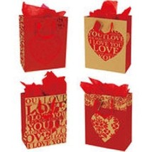 FOUR (4) FLOMO VALENTINES DAY LOVE YOU MORE GIFT BAGS PARTY DECORATION N... - $2.96