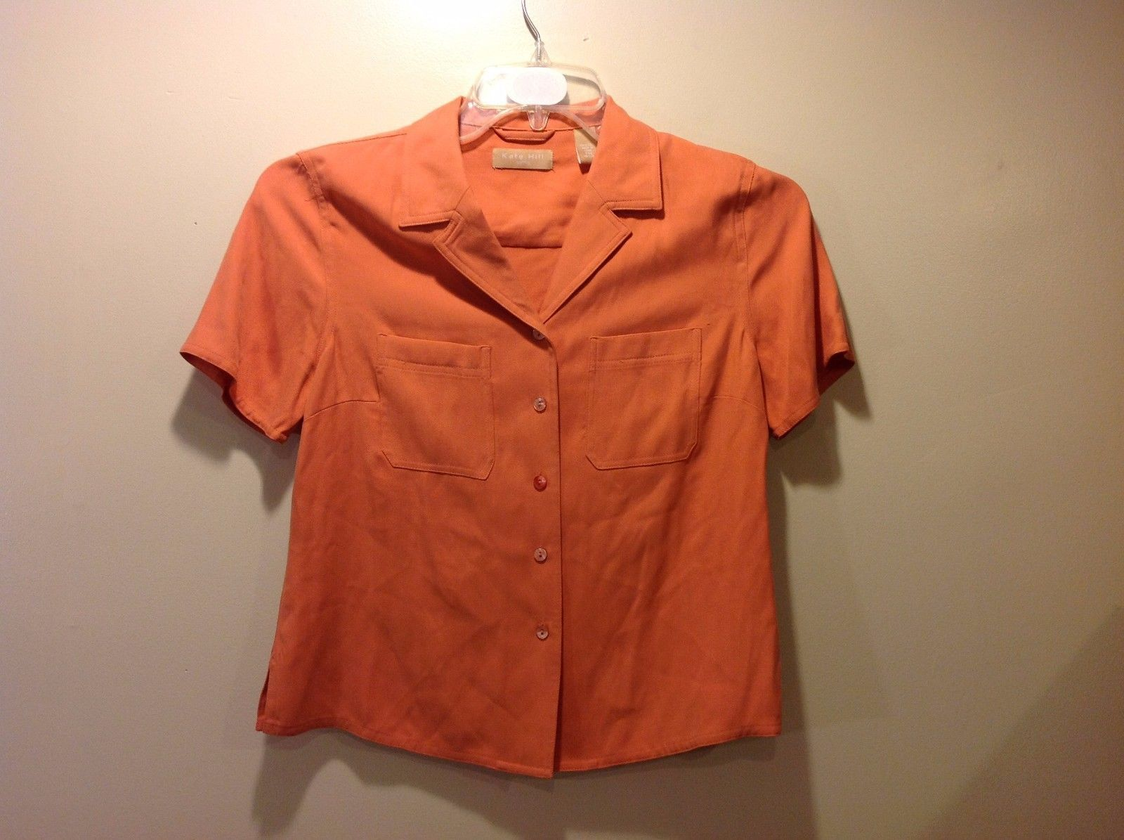 Great Condition Petite Medium Peach Kate Hill Blouse Button Up 100% Silk