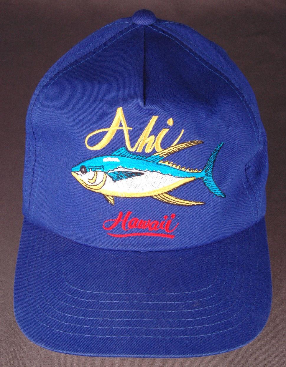 Vtg AHI Hawaii Hat-Blue-Snapback-Fish-Island-Vacation-Dorfman Pacific-Trucker