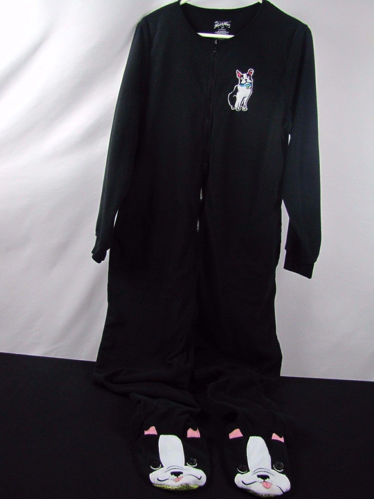 Nick and Nora Fleece Footed Pajamas Black White Boston Terrier Dog Size Medium