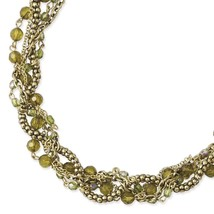"Green Acrylic Beads 16"" w/ext Twisted Brass Tone Necklace 1928 Boutique - $36.71"