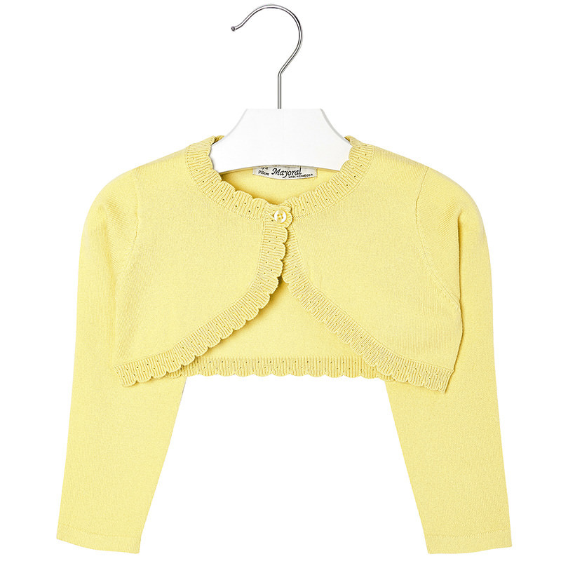 Mayoral Girls 2T-9 Chamomile-Yellow Scallop Edge Knit Shrug Cardigan Sweater