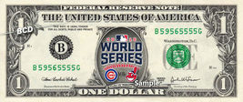 WORLD SERIES 2016 Cubs vs Indians MLB Baseball on a REAL Dollar Bill Cas... - $6.66
