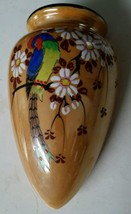Wall Hanging Vase Pocket Gold with Flowers Peacock 1930 Made in Japan 7 ... - $17.82