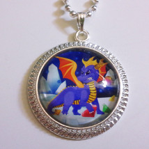 Spyro the Dragon Video Game 1 inch Glass Stone Necklace Ripto Sparks - $15.00