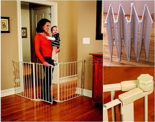 Hardware mounted baby gate with swing door extra wide