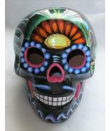 "Talavera Clay Sugar Skull Day of the Dead Black Multi-Color 5"" Medium - $21.78"