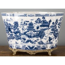 Porcelain And Bronze Ormolu Blue Willow PLANTER/VASE,14.5''L - $321.75