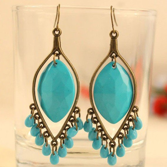 Primary image for Turquoise Resin Bead Dangle Earrings