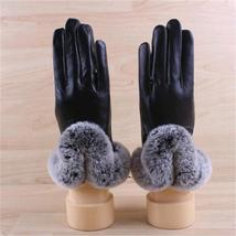 Real Womens Black Leather Gloves with Rex Rabbit fur Cuffs Leather Dress... - $39.00