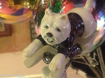 ceramic miniature dog white West Highland Terrier Westie w black sweater w stars
