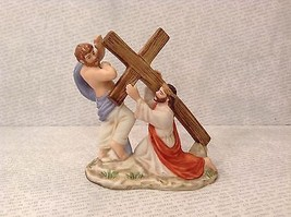 Simon Helping Jesus Bible Scene with Cross Ceramic Figurine 1989 Vintage - $39.99