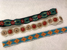 Turquoise Ruby Red Multi-Colored Beaded Elastic Headbands