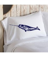 Navy Blue Narwhal whale White Nautical Pillow c... - $11.99