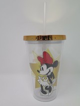 Disney Parks Minnie Mouse Rocks The Dots Tumbler Cup Straw Clear Gold Ac... - $4.94