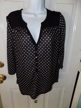 H&M Black and White Polka Dot 3/4 Sleeve Button Neck Shirt Size M Women'... - $16.00