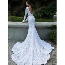 New White Lace Sexy Long Sleeve Backless O-Neck Mermaid Wedding Gown Plus sizes image 3
