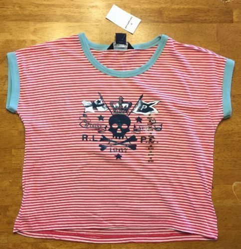 Primary image for NWT Ralph Lauren Girl's Pink & White Striped Skull & Crossbones Shirt - Medium 8