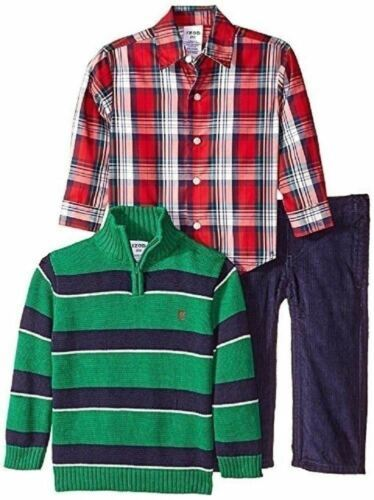 Large 7 Little Boy's Izod 3-Piece Half Zip Sweater Woven Shirt Pants MOD Green
