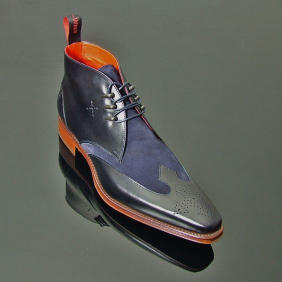Handmade men's leather boot, Men Blue and black Chukkay boot, Mens leather boot for sale  USA
