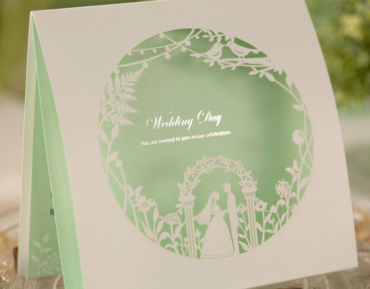 Green wedding invitation cards CW006, envelopes, seals, personalized printing