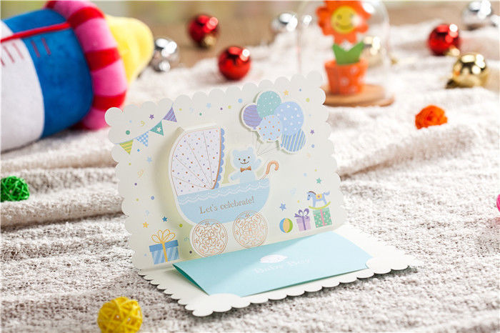 Personalize blue boy baby/child invitation cards, envelopes, blue candy boxes
