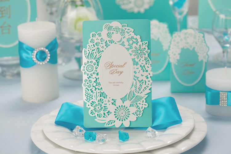 Blue wedding invitation card CW002, with envelope seal and personalized printing