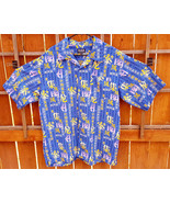 K.A.D. Short Sleeve Shirt-Blue-XL-Characters-Button Up-Polyester-Hawiian... - $24.30