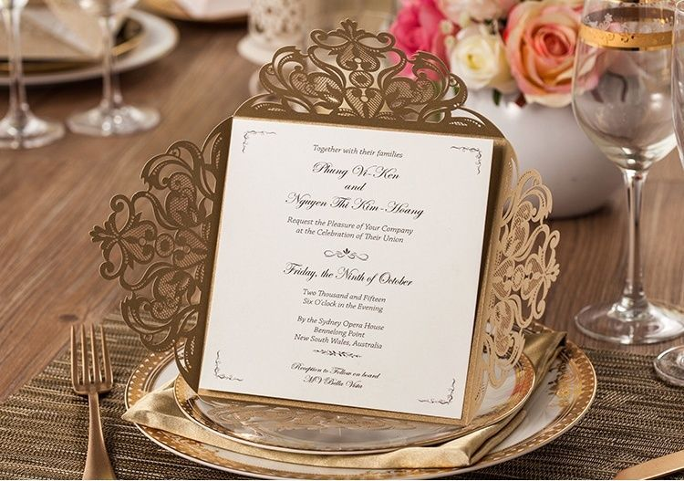 Gold wedding invitation card CW519_GO, envelopes, seals, personalized printing