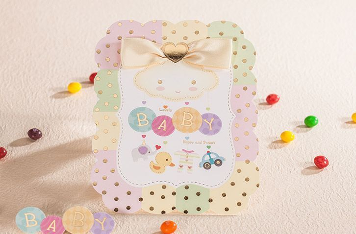Personalized colorful baby/child invitation cards kit with envelopes CW6007