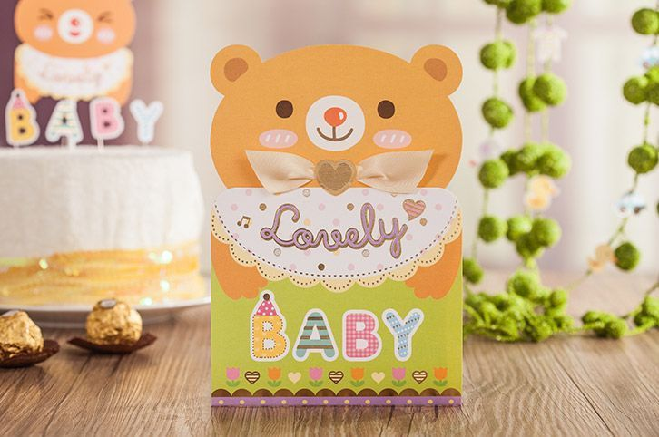 Personalized colorful baby/child bear invitation cards kit with envelopes CW6033