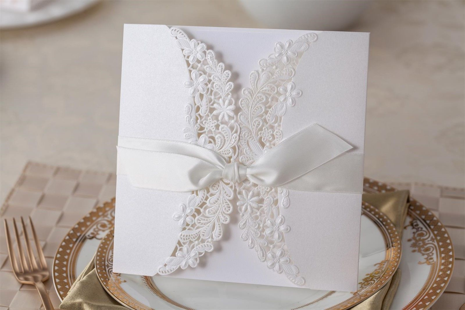 Wedding invitation cards kit PK838_WH, envelopes, seals, personalized printing