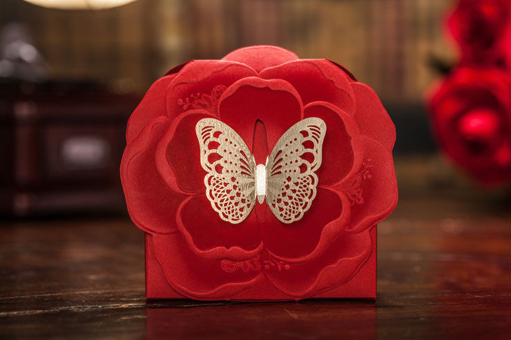Red laser cut hollow wedding favor candy boxes CB5138, matching CW5138