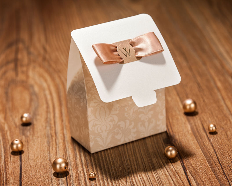 Champagne color wedding favor candy boxes CB021