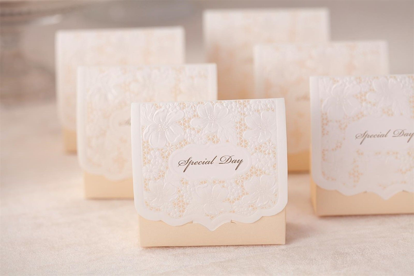 White laser cut hollow wedding favor candy boxes CB1101_S, matching CW1101