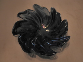 glass blue swirl candy dish 8 inch - $15.95