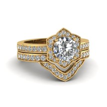 Round Cut White CZ Victorian Halo Wedding Ring Set 14k Yellow Gold Fn - $139.99