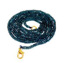 """L.b. Coated Crystal 3-4mm rondelle faceted beads 21"""" beaded Choker long necklace - $17.03"""