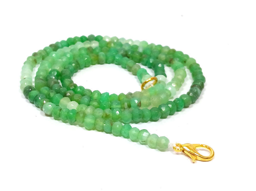 """Natural Chrysoprase 3-4mm rondelle faceted beads 26"""" beaded Choker long necklace - $23.88"""