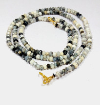 "Natural Dendrite Opal 3-4mm rondelle faceted beads 22"" beaded Choker necklace - $19.12"