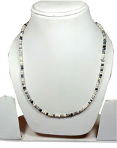 "Natural Dendrite Opal 3-4mm rondelle faceted beads 36"" beaded Choker necklace - $31.32"