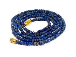 "Natural Lapis Lazuli 3-4mm rondelle faceted beads 21"" beaded Choker necklace - $18.00"