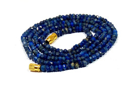"Natural Lapis Lazuli 3-4mm rondelle faceted beads 26"" beaded Choker necklace - $22.44"