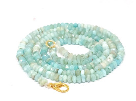 """Natural Larimar 3-4mm rondelle faceted beads 20"""" beaded Choker Collar necklace - $27.10"""