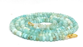 """Natural Larimar 3-4mm rondelle faceted beads 36"""" beaded Choker Collar necklace - $49.54"""