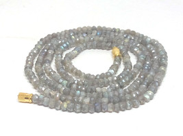 "Silverite Labradorite 3-4mm rondelle faceted beads 36"" beaded Choker necklace - $25.12"